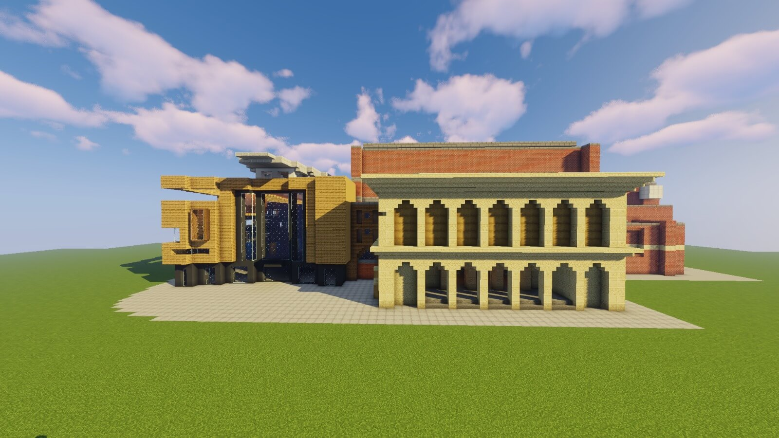 Exterior view of the Minecraft Colston Hall